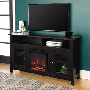 "Walker Edison Furniture Company Rustic Wood and Glass Tall Fireplace Stand for TV's up to 64"" Flat Screen Living Room Storage Cabinet Doors and Shelves Entertainment Center, 32 Inches, Black"