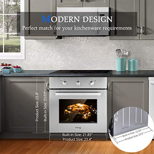 "Single Wall Oven, GASLAND Chef 24"" Built-in Electric Ovens Package deal Dimensions: 23.5 x 22.5 x 23.5 inches"