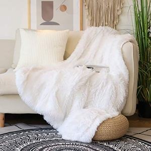 "Decorative Extra Soft Faux Fur Throw Blanket 50"" x 60"",Solid Reversible Fuzzy Lightweight Long Hair Shaggy Blanket,Fluffy Cozy Plush Fleece Comfy Microfiber Fur Blanket for Couch Sofa Bed,Pure White"