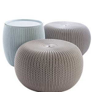 Keter Urban Knit Pouf Ottoman Set of 2 with Storage Table for Patio and Room Décor - Perfect for Balcony, Deck, and Outdoor Seating, Dune/Misty Blue