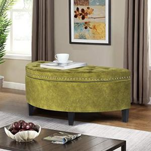 Homebeez Storage Ottoman Bench Tufted Half Moon Bench for Entryway Living Room (Auqamarin)