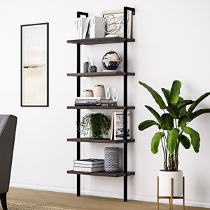 Nathan James Theo 5-Shelf Wood Ladder Bookcase with Metal Frame, 5-Tier, Dark Walnut Brown/Black