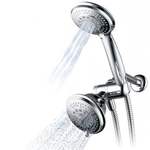 "Hydroluxe 1433 Handheld Showerhead & Rain Shower Combo. High Pressure 24 Function 4"" Face Dual 2 in 1 Shower Head System with Stainless Steel Hose, Patented 3-Way Water Diverter in All-Chrome Finish"