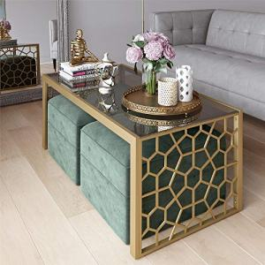 CosmoLiving by Cosmopolitan CosmoLiving Juliette Two Ottomans Set Coffee Table, Seafoam/Brass