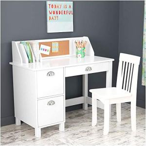 KidKraft Kids Study Desk with Chair-White