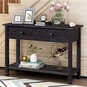 P PURLOVE Farmhouse Console Table Hallway Table with One Big Drawer and Bottom Shelf for Living Room,Easy Assemble Entryway Table,Antique Hallway Table