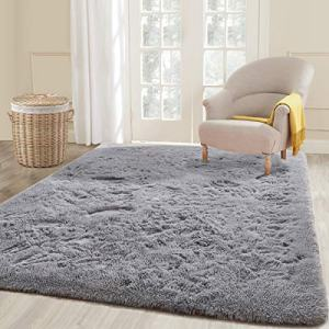 ECOBER Soft Velvet Fluffy Area Rug Modern Shag Rugs for Bedroom Living Room 5'x8', Extra Comfortable Carpets, Luxury Plush Carpet for Nursery Kids Girls Home, Gray