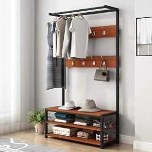 PPgejGEK Modern Heavy Duty Coat Rack Shoes Bench, Free Standing Garment Rack Hall Tree Entryway Storage Shelf with 8 Hooks,Industrial Clothes Hanging Rack Wardrobe Closet Organizer,Metal Frame,Brown