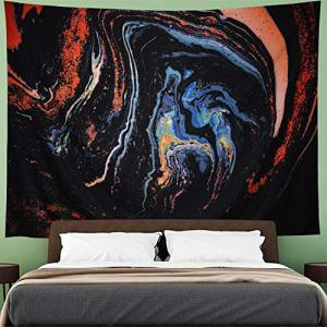 "Amhokhui Psychedelic Tapestry Marble Tapestry Gouache Art Tapestry Luxury Swirl Tapestry Orange Black Tapestries Trippy Nature Landscape Wall Hanging for Room (H 59.1""×W 78.7"")"