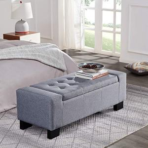 "BELLEZE 48"" Rectangular Fabric Tufted Storage Ottoman Bench, Large, Slate Grey"