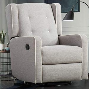 CANMOV Swivel Rocker Recliner Chair, Manual Reclining Chair, Single Seat Reclining Chair, Gray