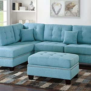 Poundex PDEX- Sofas, Light Blue