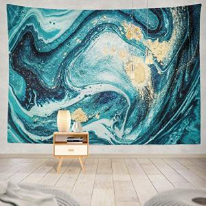 Soopat Tapestry Polyester Fabric Ocean Art Natural Luxury Swirls Marble Ripples Blue Gold Powder Liquid Flow Wall Hanging Tapestry Decorations for Bedroom Living Room Dorm 60X50 inch