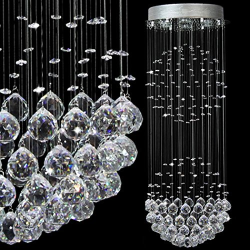 LED Modern Contemporary Flush Mount Ceiling Chandelier Lighting Rain Drop Double Large Crystal Balls Cylinder Pendant Chandelier Ceiling Light Fixture Lamp for Dining Living Room Bedroom Kitchen Foyer
