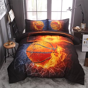A Nice Night Basketball Print Comforter Quilt Set Bedding Sets (Basketball, Full)