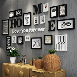 Anyi Picture Frames,17 Pcs Multi Pack Photo Frame Set Wall Gallery Kit, Five 11.6X15.5Cm, Four 15.7X20.8Cm, Three 23X28cm, Two 18X18cm, One 27.6X37.6Cm, Two 18X33.2Cm