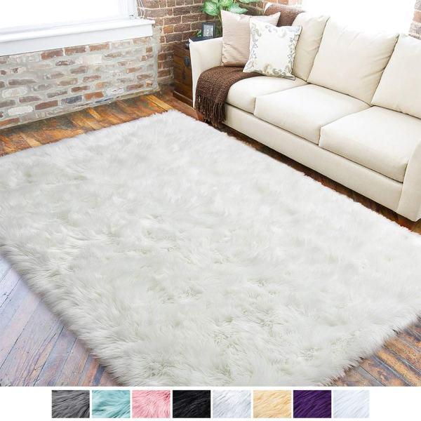 LOCHAS Ultra Soft Fluffy Rugs Faux Fur Sheepskin Area Rug for Bedroom Bedside Living Room Carpet Nursery Washable Floor Mat, 3x5 Feet White