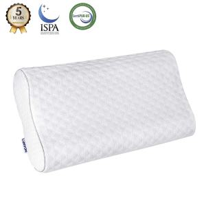 Lunvon Pillows for Sleeping Luxury Queen Memory Foam Cooling Bed Pillows Height Adjustable Cervical Pillows with Pain Relief Design Breathable Hypoallergenic Cotton Cover Protector CertiPUR-US, White