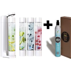 FIZZpod Soda Maker With CO2 Cylinder- Fizzy Drink Machine with 3 PET Bottles, 3 Caps, 1 Carbonator Cap and Manual - Make Homemade Sparkle Water, Juice, Coffee, Tea and Cocktail Drinks with Fruit (White)