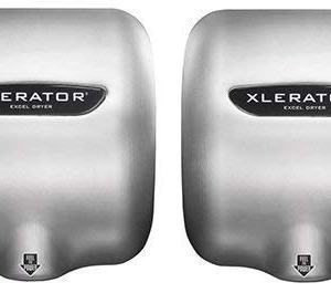 Excel Dryer XLERATOR XL-SB 1.1N High Speed Commercial Hand Dryer, Brushed Stainless Cover, Automatic Sensor, Surface Mounted, Noise Reduction Nozzle, LEED Credits 12.2 Amps 110/120V (2 Pack)