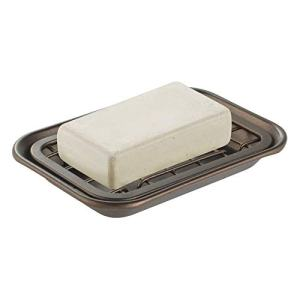 mDesign Metal 2-Piece Soap Dish Tray with Drainage Grid and Holder for Kitchen Sink Countertops to Store Soap, Sponges, Scrubbers - Rust Resistant - Bronze