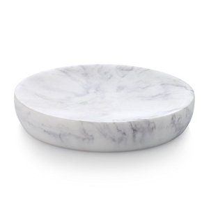 Essentra Home Blanc Collection White Soap, Sponge Dish Tray for Bathroom or Shower Also Great for Kitchen