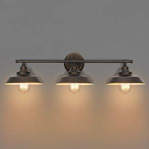 KingSo Bathroom Vanity Light 3 Light Wall Sconce Fixture Industrial Indoor Wall Mount Lamp Shade for Bathroom Kitchen Living Room Workshop Cafe