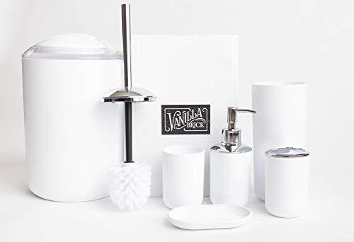 Vanilla Brick Bathroom Accessories Set, Soap Dispenser, Toothbrush Holder, Tumbler Cup, Soap Dish, Trash Can, Toilet Brush with Holder, 6 Piece Plastic Bath Gift Set (White)