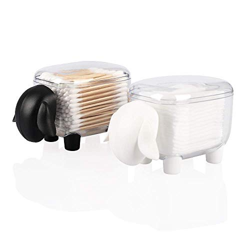 Agirlvct 2 Pack Cotton Ball Holder with Lid, Acrylic Bathroom Vanity Storage Organizer Holder Canister Apothecary Jars for Qtip and Swab Floss Dispenser Makeup Bedroom Birthday Gift for Girl(Sheep)