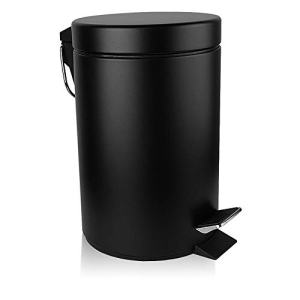 H+LUX Mini Trash Can with Lid Soft Close, Round Bathroom Trash Can with Removable Inner Wastebasket, Anti-Fingerprint Matt Finish, 0.8Gal/3L, Black