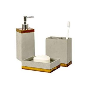 nu steel nusteel Concrete, Made of Cement Bath Accessory Set for Vanity Countertops, 3 Piece Luxury Ensemble Dish, Toothbrush Holder, soap and Lotion Pump, Grey Stone/Brown