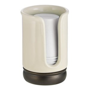 "iDesign York Ceramic Disposable Paper and Plastic Cup Dispenser Holder for Master, Guest, Kids' Bathroom Vanity and Countertops, 2.75"" x 2.75"" x 4.5"", Vanilla and Bronze"