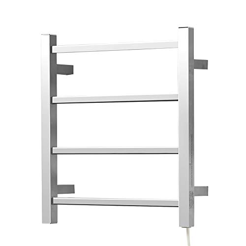 SHARNDY Towel Warmer for Bathroom Polished Chrome ETW13-2A Heated Towel Rail 4 Square Bars