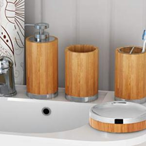 nu steel Ageless Bamboo and Metal Bathroom Accessories Set, 4 Piece Luxury Ensemble Includes Dish, Toothbrush Holder, Tumbler, soap and Lotion Pump, Natural, Wood,Chrome