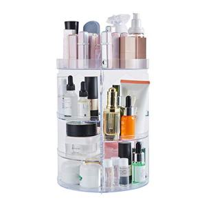 DOZZZ Makeup Organizer 360-Degree Rotating with 7 Layers Large Capacity Adjustable Multi-Function Acrylic Cosmetic Storage Display Case Great For Bathroom Countertop