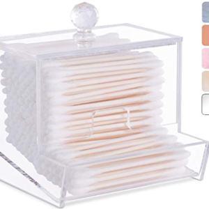 Acrylic Qtip Holder for Qtip Brand Cotton Swabs, Qtip Dispenser, Modern Bathroom Decor, Cotton Swab Holder, Cotton Swab Dispenser, Bathroom Organizer Countertop Bathroom Storage Vanity (Clear)