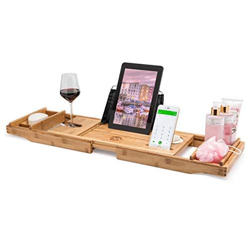 Morvat Bamboo Bathtub Tray, Bathtub Tray Caddy, Bathtub Tray with Book Holder, Bath Tray for Tub, Bathtub Caddy Tray, Bathtub Shelf for Laptop, Reading, Tablet   Bed and Bath Gift   Premium