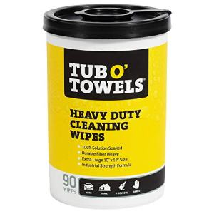 """Tub O Towels TW90 Heavy-Duty 10"""" x 12"""" Size Multi-Surface Cleaning Wipes, 90 Count Per Canister"""