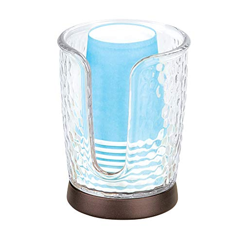 "iDesign Rain Disposable Paper and Plastic Cup Dispenser Holder for Master, Guest, Kids' Bathroom Vanity and Countertops, 3.10"" x 3.10"" x 4"", Clear and Bronze"