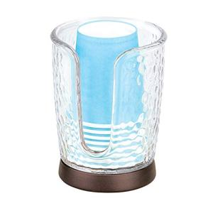 """iDesign Rain Disposable Paper and Plastic Cup Dispenser Holder for Master, Guest, Kids' Bathroom Vanity and Countertops, 3.10"""" x 3.10"""" x 4"""", Clear and Bronze"""