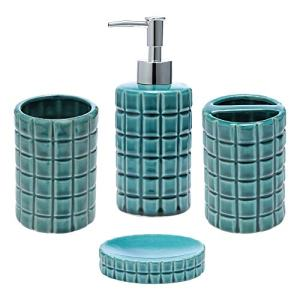 JOTOM Ceramic Bath Accessory Set,Luxury Bathroom Accessories Set - 4 Pieces with Decorative Hand Sanitizer Bottle,Toothbrush Cup,Toothbrush Holder,Soap Dish (Dark Green Square Lattice)