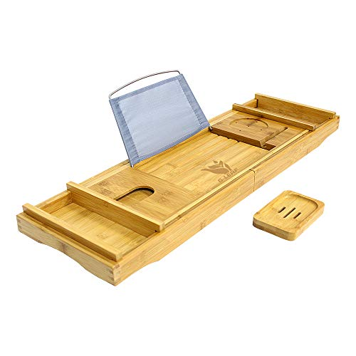 G-LEAF Bamboo Bathtub Tray Caddy with Wine Glass Holder/Adjustable Reading Rack,Free Soap Holder