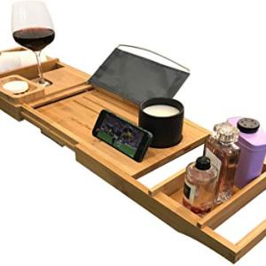 Luxury Bath Caddy Tray for Tub | Bath Table | Premium Bamboo Bathtub Tray for Tub | Fits All Bath Accessories Wine Glass, Books, Tablets, Cellphones, Shampoo, Soap | Bath Shelf Foldable Design