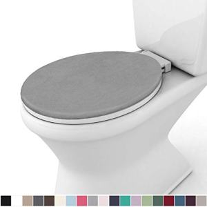 Gorilla Grip Original Thick Memory Foam Bath Room Toilet Lid Seat Cover, 19.5 Inch x 18.5 Inch Size, Machine Washable, Plush Fabric Covers, Fits Most Size Toilet Lids for Kids Bathroom, Graphite