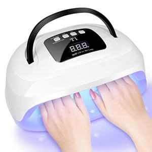 UV LED Nail Lamp, Larbois 96W Gel UV LED Nail Dryer for Nail Polish, for Hands & Toenail, Auto Sensor Professional Manicure Curing Lamp, 4 Timer Setting Gel Lamp for Home and Salon Use (96W)