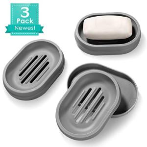Homemaxs Soap Dishes 3 Pack,【2020 Newest】 Soap Bar Holder with Drainage Design,Double-Layer Soap Saver Lightweight Portable Easy Cleaning Soap Box for Bathroom Shower Kitchen Washing Room