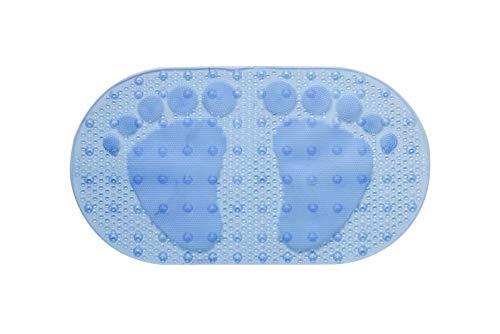 DFL Bath Tub Mat, Extra Long 27 x 16 Inches Non-Slip Shower Mats with Suction Cups and Drain Holes, Bathtub Mats Bathroom Mats Machine Washable (Blue)