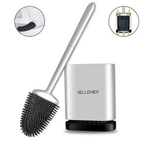 Sellemer Bathroom Toilet Brush and Holder Set, Toilet Bowl Cleaner Brush with Holder for Bathroom Storage and Organization, Carrying Solid Anti-Rust Handle Design