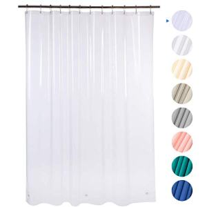"AmazerBath Plastic Shower Curtain, 72"" W x 72"" H EVA 8G Shower Curtain with Heavy Duty Clear Stones and 12 Grommet Holes Thick Bathroom Plastic Shower Curtains Without Chemical Odor-Clear"