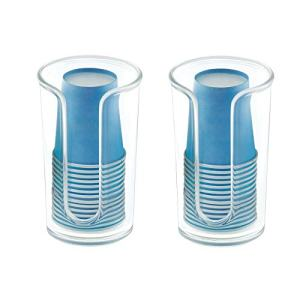 mDesign Modern Plastic Compact Small Disposable Paper Cup Dispenser - Storage Holder for Rinsing Cups on Bathroom Vanity Countertops, Cups Included - 2 Pack - Clear